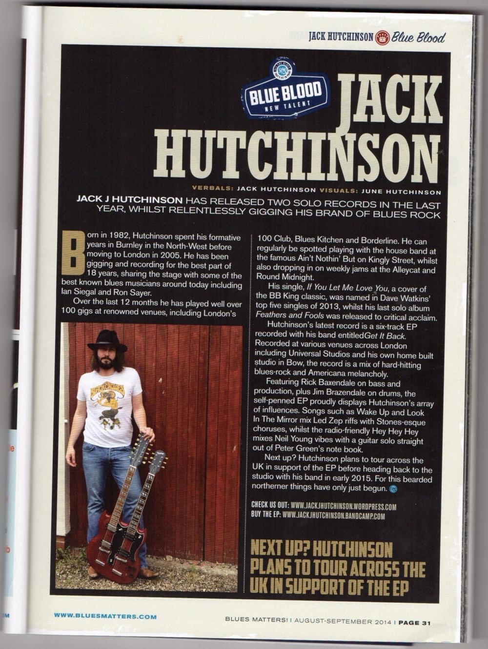 Jack J Hutchinson in Blues Matters magazine