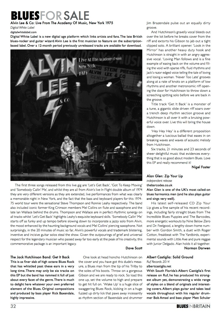 Blues in Britain August 2014 Jack J Hutchinson Band review