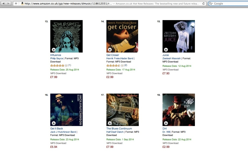 Jack J Hutchinson Band reach number 16 in the Amazon blues new releases chart.